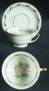 Royal Jackson Gardenia Footed Cup & Saucer Set, Fine China Dinnerware   Gold Tri
