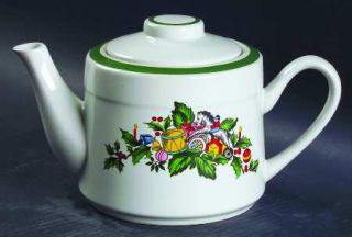 Yamaka Noel Teapot & Lid, Fine China Dinnerware   Green Band 1/4 From Edge,Xmas