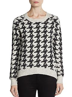 Houndstooth Hi Lo Sweater   Hot Stone