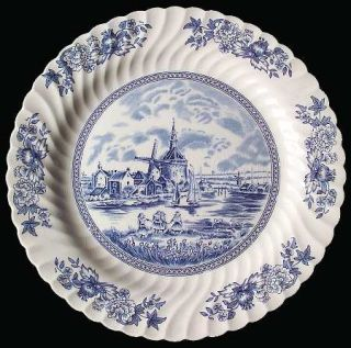 Johnson Brothers Tulip Time Blue (White Background) 12 Chop Plate/Round Platter