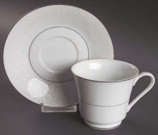 Style House Shannon Footed Cup & Saucer Set, Fine China Dinnerware   White Flora