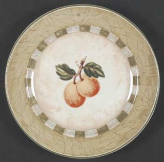 Coventry (PTS) Decoupage Salad Plate, Fine China Dinnerware   Fruit, Green Check