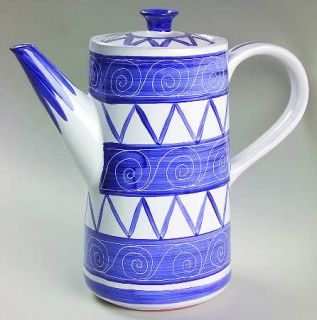 Block China Cote DAzur Coffee Pot & Lid, Fine China Dinnerware   Blue & White S