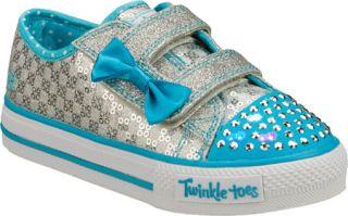 Infant/Toddler Girls Skechers Twinkle Toes Shuffles Sweet Steps   Silver/Blue V