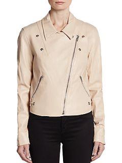Salma Twill Paneled Leather Moto Jacket   Dusty Pink