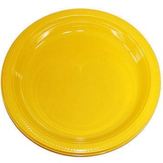 School Bus Yellow Plastic Dinner Plates Big Value Packs