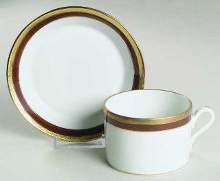 Richard Ginori Palermo Brown Flat Cup & Saucer Set, Fine China Dinnerware   Impe