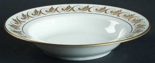 Richard Ginori Aosta Rim Soup Bowl, Fine China Dinnerware   Gold Scroll/Leaf Ban