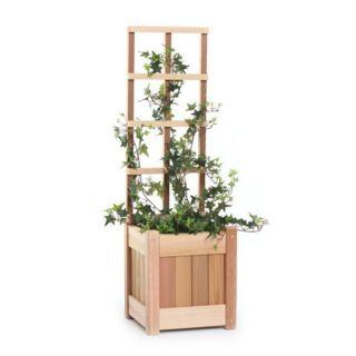 All Things Cedar Square Western Red Cedar Wood Planter Box   PL10U T