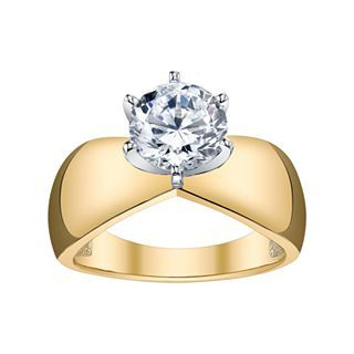 Diamonore 3 CT. Simulated Diamond Solitaire Ring, Yellow/Gold, Womens