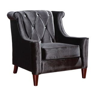 Armen Living Barrister Chair in Black Velvet with Crystal Buttons   LC8441BLACK
