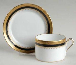 Richard Ginori Regal Black Flat Cup & Saucer Set, Fine China Dinnerware   Black
