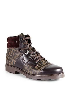 Fendi Zucca Lace Up Boots   Tobacco