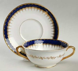 Coalport 6143 Cobalt Blue Footed Cream Soup Bowl & Saucer Set, Fine China Dinner