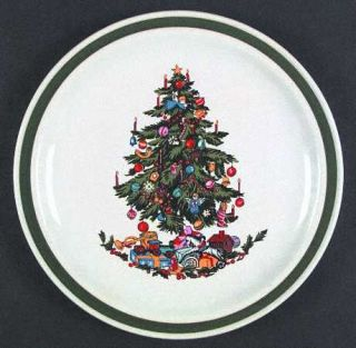 Yamaka Noel Dinner Plate, Fine China Dinnerware   Green Band 1/4 From Edge,Xmas