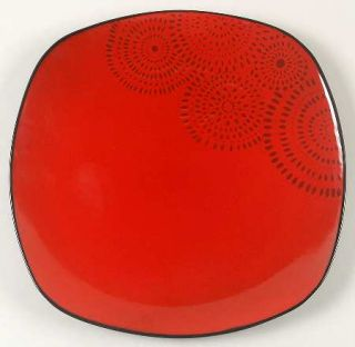 Home Trends Kasbar Dinner Plate, Fine China Dinnerware   Black Dotted Circles On