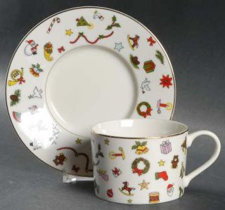 Taitu Noel Flat Cup & Saucer Set, Fine China Dinnerware   Christmas Objects On R