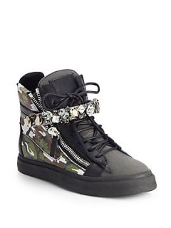 Giuseppe Zanotti Jeweled Camouflage Leather Wedge Sneakers   Black