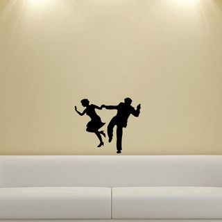 Couple Dancing Silhouette Wall Vinyl Decal (Glossy blackDimensions 25 inches wide x 35 inches long )