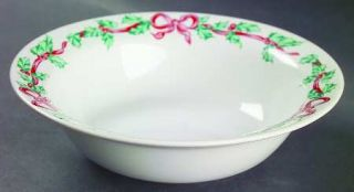 International Christmas Ribbons Rim Cereal Bowl, Fine China Dinnerware   Holly,R