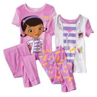 Doc McStuffins Toddler Girls 4 Piece Short Sleeve Pajama Set   Pink 4T