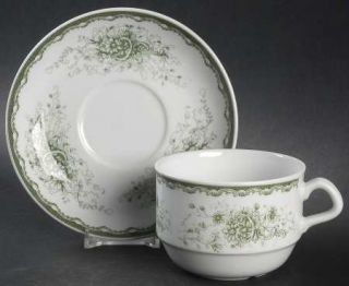 Rorstrand Anna Flat Cup & Saucer Set, Fine China Dinnerware   Ivory Background,