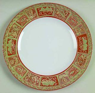 Interiors (PTS) Maya Dinner Plate, Fine China Dinnerware   Stoneware,Rust/Blue T