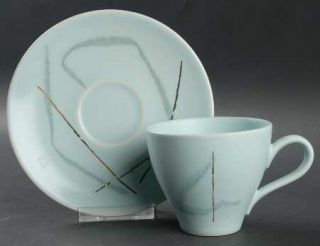 Edwin Knowles Grass Flat Cup & Saucer Set, Fine China Dinnerware   Russel Wright