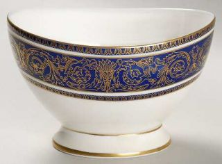 Royal Doulton Imperial Blue Open Sugar Bowl, Fine China Dinnerware   Gold Filigr