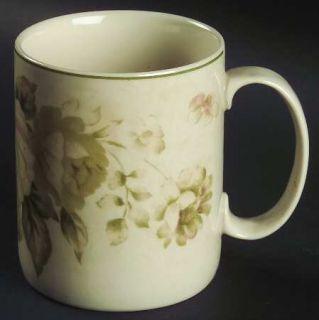 Interiors (PTS) Antique Rose Mug, Fine China Dinnerware   Green&Pink Roses&Buds