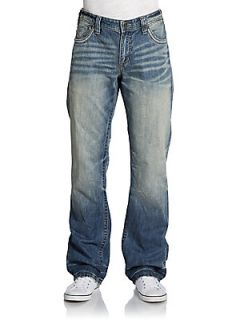 Relaxed Straight Leg Faded Jeans   Crossroads