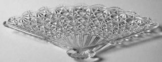 L G Wright Daisy & Button Clear Fan Tray   Clear, Pressed Glass No Trim