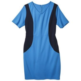 Merona Womens Plus Size V Neck Colorblock Ponte Dress   Blue/Navy 1