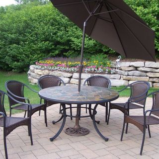 Oakland Living Stone Art All Weather Wicker Patio Dining Set   Seats 6