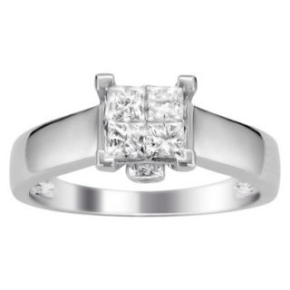 5/8 CT. T.W. Princess Cut Diamond Composite Set Ring in 14K White Gold (H I,