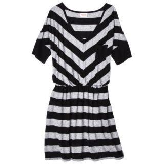Mossimo Supply Co. Juniors V Neck Elbow Sleeve Dress   Black/Gray XL(15 17)