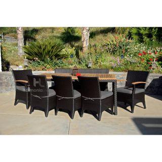 Harmonia Living Arbor Patio Dining Set   Seats 8 Sunbrella Canvas Spa   HL AR