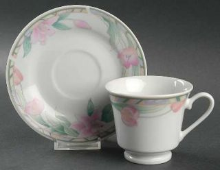 Gibson Designs Vienna Footed Cup & Saucer Set, Fine China Dinnerware   Pink Flow