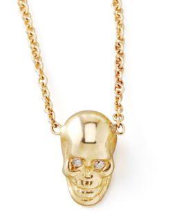 Yellow Gold Skull Pendant Necklace   Zoe Chicco