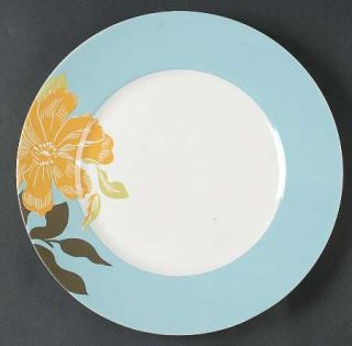 222 Fifth (PTS) Maya Dinner Plate, Fine China Dinnerware   Blue Or Taupe Rim,Yel
