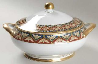 Christian Dior Tabriz Round Covered Vegetable, Fine China Dinnerware   Tan Leave