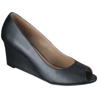 Womens Merona Noele Peep Toe Wedge Pump   Black 6