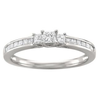 1/2 CT. T.W. Princess Cut Diamond 3 Stone Prong Set Ring in 14K White Gold (H I,