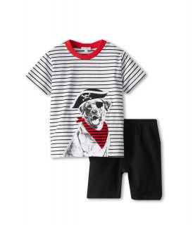 le top Arf, Matey! Pirate Dog Stripe Shirt w/ French Terry Shorts Boys Sets (Black)