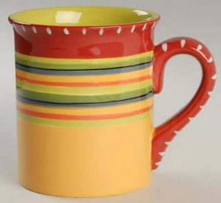 Hot Tamale Mug, Fine China Dinnerware   Red,Orange,Green,Yellow,Stripes,No Trim