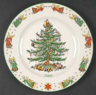 Spode Christmas Tree Green Trim 2000 Collector Plate, Fine China Dinnerware   Ne