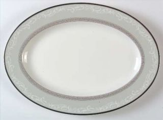 Noritake Yasmin 14 Oval Serving Platter, Fine China Dinnerware   Gray Rim,White