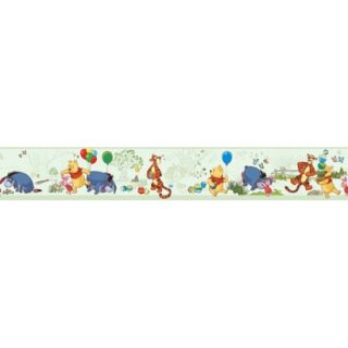 Pooh and Friends Toile Wallpaper Border   Green