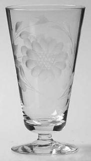 WJ Hughes Cornflower (Smooth Stem/Non Optic) 6 Oz Footed Tumbler   Floral Cut,Sm