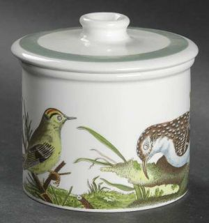 Portmeirion Birds Of Britain (Green Band On Rim) Drum Sugar Bowl & Lid, Fine Chi